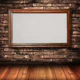 Wood frame on Brick Wall Stock Photography