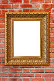 Wood frame on brown stone wall background Stock Image