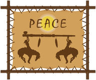 Wood frame canvas. Illustration of a wooden framed canvas with peace pipe and peace slogan Stock Photography