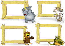 Wood Frame with Cartoon Animal Royalty Free Stock Photography