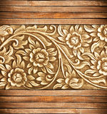 Wood frame carve flower Royalty Free Stock Image
