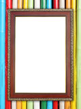 Wood frame on colorful bamboo wall Stock Photography