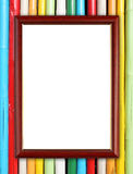 Wood frame on colorful bamboo wall Royalty Free Stock Photos