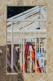 Wood frame construction job Stock Images