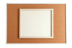 Wood frame on cork board Stock Photos