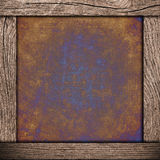 Wood frame with corroded metal. Background royalty free illustration