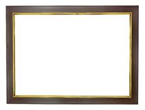 Wood frame with gold edges Stock Images