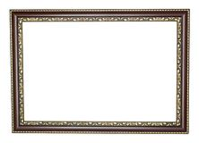 Wood frame with gold edges. Isolated on white Royalty Free Stock Image