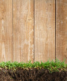 Wood frame in the grass Royalty Free Stock Images