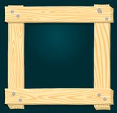 Wood frame on a green background. Roughly knocked out of boards with nails vector illustration