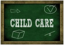 Wood frame green chalkboard with CHILD CARE message handwritten in chalk. Illustration Stock Photo