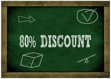 Wood frame green chalkboard with 80 PERCENT DISCOUNT message handwritten in chalk. Illustration Stock Photo