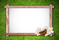 Wood frame on green nature background Royalty Free Stock Image