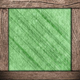 Wood frame with green paper Stock Photography