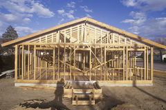 Wood frame of house under construction. Lone Pine, CA royalty free stock photo