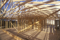 Wood frame of house under construction. Lone Pine, CA stock photography