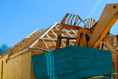 Wood frame of house under construction, Royalty Free Stock Images