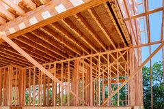 Wood frame of house under beam construction Royalty Free Stock Image