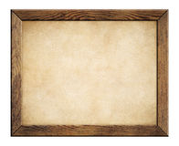 Wood frame with old paper background. Wood frame with old paper isolated on white Royalty Free Stock Photo
