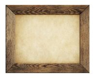 Wood frame with old paper isolated on white Stock Images