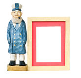 Wood frame with old sailor toy Stock Images