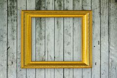 Wood frame on old wooden wall Stock Photos