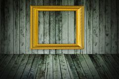 Wood frame on old wooden wall Royalty Free Stock Photos