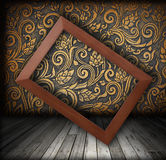 Wood Frame On The Wall Color Of Golden Color Shift Stock Images
