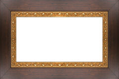 Wood frame with pattern. Wood frame with golden decorative pattern Royalty Free Stock Photos