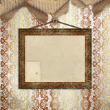 Wood frame for photo. On the abstract vintage background Stock Photos