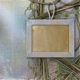Wood frame for photo, on the abstract background. With grass Stock Illustration