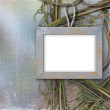 Wood frame for photo, on the abstract background. With grass Royalty Free Illustration