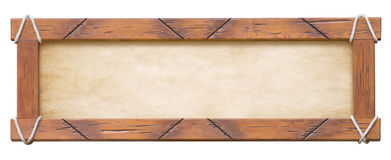 Wood frame with ropes isolated on white background Royalty Free Stock Photo