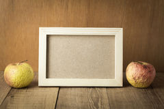 Wood frame with space and sear fruit. Photo stock photos