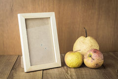 Wood frame with space and sear fruit. Photo royalty free stock photos