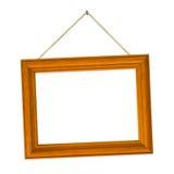Wood frame on string Stock Photo