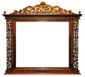 Wood frame vintage. Vintage picture frame, wood plated, white background, clipping path included Stock Images