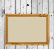 Wood frame on white wood Stock Photo