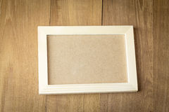 Wood frame on wood board background. Photo stock image