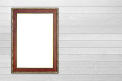 Wood frame on wood wall Stock Images