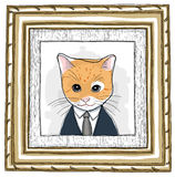 Wood Framed and cat painting vintage. Painting  picture the cat in Wood Framed vintage Royalty Free Stock Photography