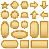 Wood frames buttons, set Royalty Free Stock Photo