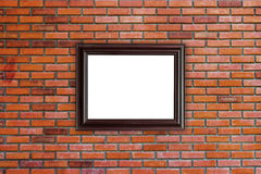 Wood frames photo on red brick wall Royalty Free Stock Images