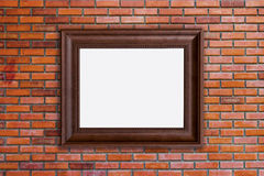 Wood frames photo on red brick wall Royalty Free Stock Photo
