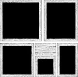 Wood frames and wooden plank in black and white. Set of various wood frames and wooden plank in black and white Stock Photography
