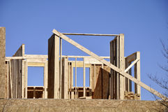 Wood framing for home construction Royalty Free Stock Photo