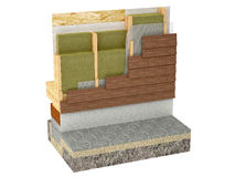 Wood framing house insulation on white background. High-Performance wood-framing building Insulation Stock Photos