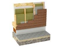Wood framing house insulation on white background Stock Photos