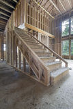 Wood Framing for House Staircase. Wood Stud Framing for Staircase in New House Construction stock photography