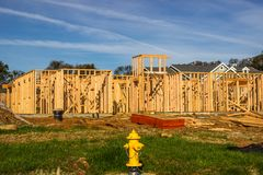Wood Framing Of New Home Construction Royalty Free Stock Photos
